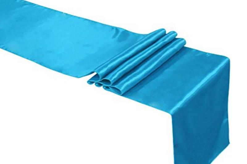 Türkizkék színű szatén futó